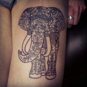 Aztec Elephant Tattoo