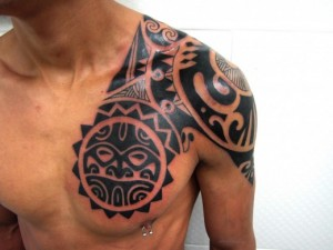 Aztec Tribal Chest Tattoos