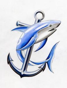 Blue Tribal Shark Tattoo