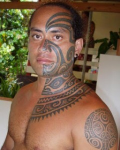 Hawaiian Tribal Face Tattoos