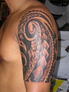 Hawaiian Tribal Half Sleeve Tattoos