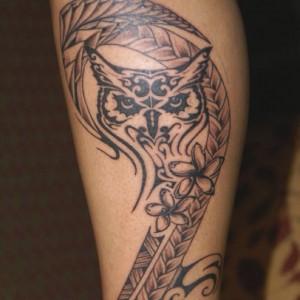 Hawaiian Tribal Owl Tattoo