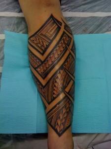 Polynesian Tribal Leg Tattoos