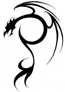 Simple Tribal Dragon Tattoo
