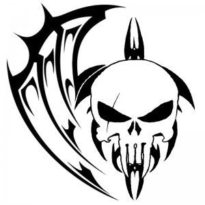 Skull with Tribal Tattoo Designs