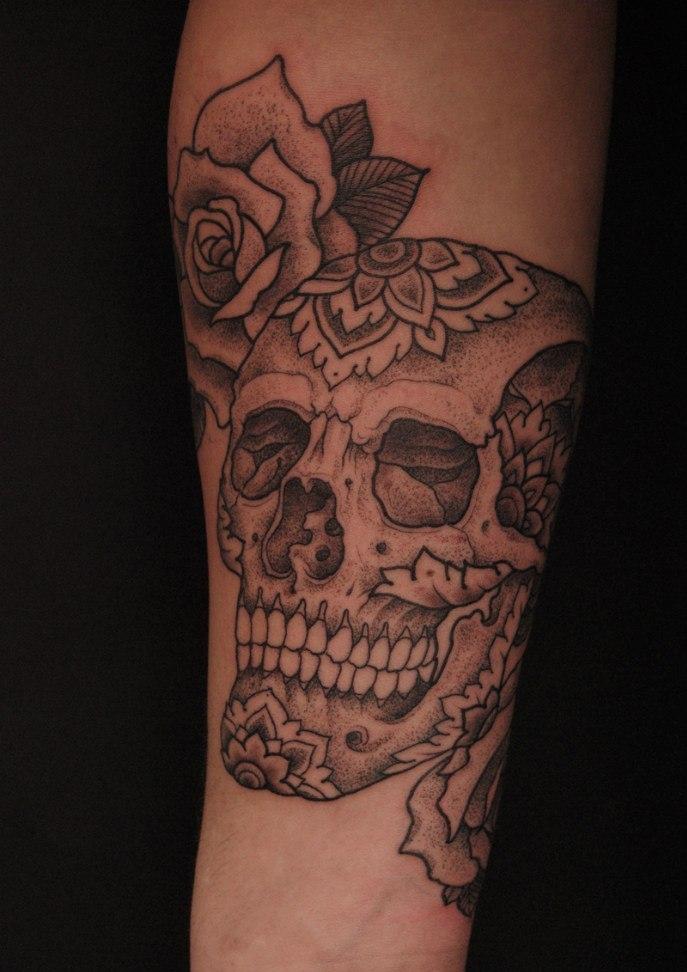 Tribal Skull Tattoo Sleeve