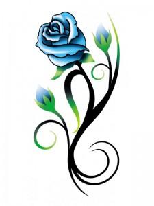 Tribal Blue Rose Tattoos