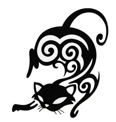 10 awesome tribal cat tattoos only tribal. Black Bedroom Furniture Sets. Home Design Ideas