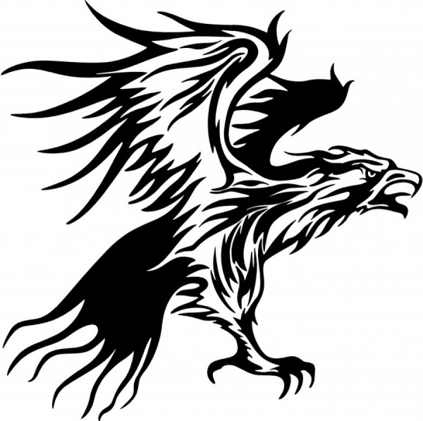 Eagle Tattoo Line Drawing : Awesome tribal eagle tattoo only
