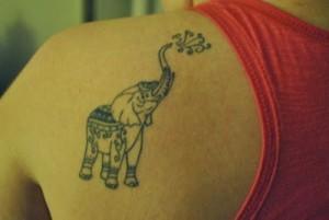 Tribal Elephant Tattoo on Shoulder