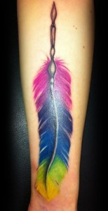 Tribal Feather Tattoo with Color