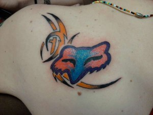 Tribal Fox Racing Tattoo