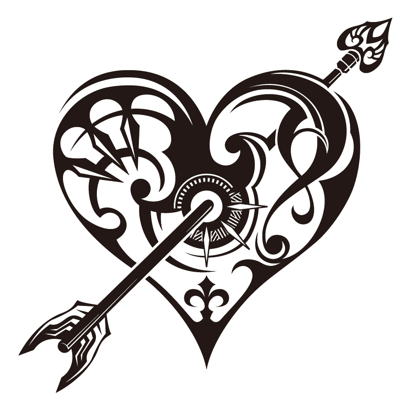 20 Beautiful Tribal Heart Tattoos on key drawing
