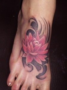 Tribal Lotus Flower Tattoo on Foot