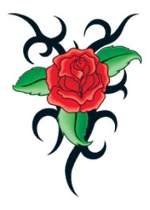 Tribal Red Rose Tattoo