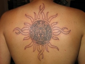 Tribal Sun Tattoo on Back