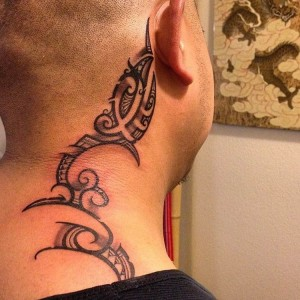 Tribal Tattoos on Neck