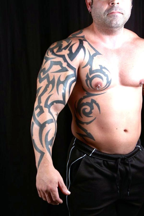 20 beautiful tribal sleeve tattoos only tribal for Tribal tattoos for men forearm