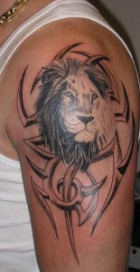 Tribal Lion Tattoo on Arm