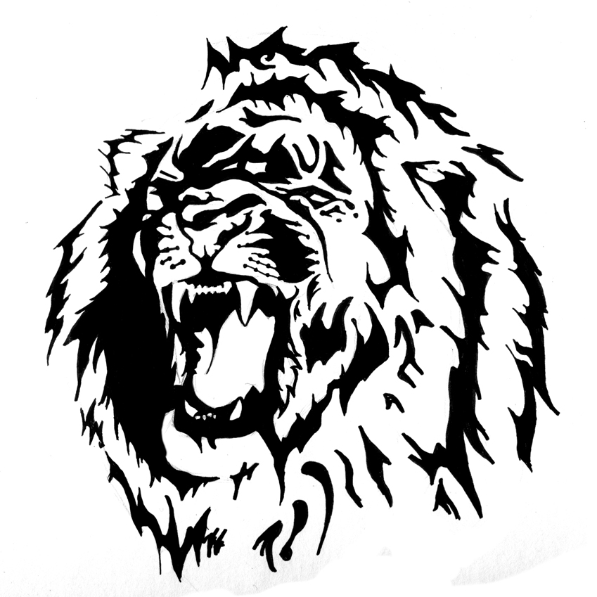 18 magnificent tribal lion tattoo only tribal for Black and white lion tattoo