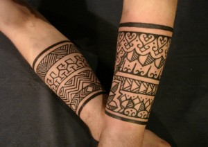 Tribal Band Calf Tattoos