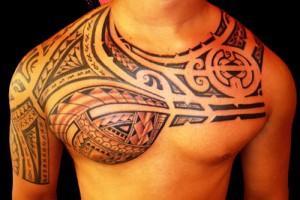 Tribal Warrior Chest Tattoos