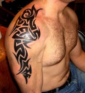 Mens Tribal Shoulder Tattoos