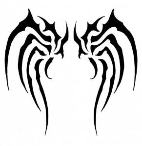 Simple Tribal Wings Tattoo