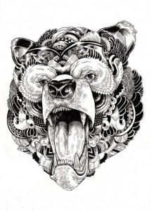 Tribal Bear Head Tattoo