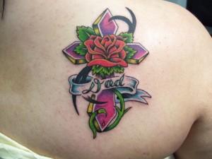 Tribal Cross Rose Tattoo