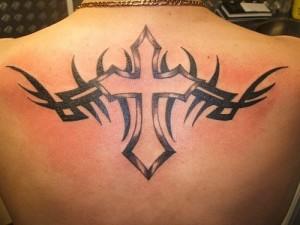 Tribal Cross Back Tattoos