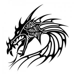 Tribal Dragon Head Tattoo